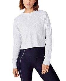 Women's Cross Back Waffle Long Sleeve Top