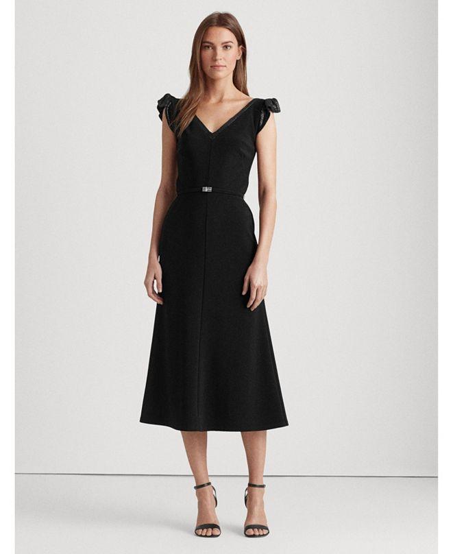 Lauren Ralph Lauren Sequined Flutter-Sleeve Dress