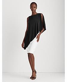 Asymmetrical Cape Jersey Dress