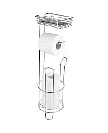 Free Standing Dispensing Toilet Paper Holder with Built-In Accessory Tray