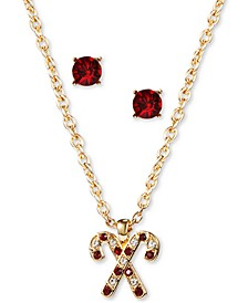 Gold-Tone Crystal Candy Cane Pendant Necklace & Stud Earrings Set, Created for Macy's