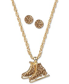 Gold-Tone Pavé Ice Skate Pendant Necklace & Stud Earrings Set, Created for Macy's
