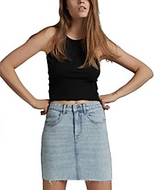 Classic Stretch Denim Mini Skirt