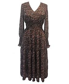 Petite Printed Smocked-Chiffon A-Line Dress
