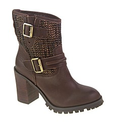 Women's Leafy Block Heel Booties