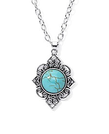 Simulated Turquoise in Fine Silver Plated Filigree Design Pendant Necklace