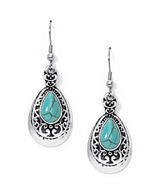 Simulated Turquoise in Fine Silver Plated Teardrop Wire Earrings