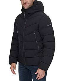 Men's Stretch Chevron-Quilted Hooded Jacket with Faux-Fur Trim