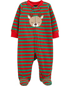 Baby Boy  Christmas Reindeer Zip-Up Fleece Sleep & Play