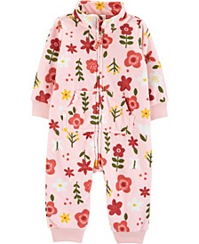 Baby Girl Floral Zip-Up Fleece Jumpsuit