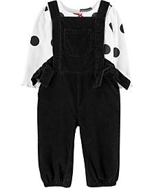 Baby Girl 2-Piece Polka Dot Tee & Corduroy Overall Set