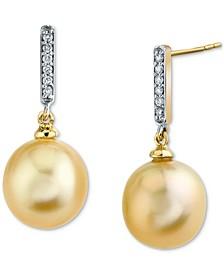 Cultured Golden South Sea Pearl (10mm) & Diamond (1/10 ct. t.w.) Drop Earrings in 14k Gold