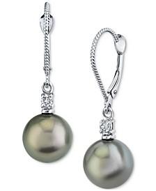 Cultured Tahitian Pearl (9mm) & Diamond (1/10 ct. t.w.) Drop Earrings in 14k White Gold