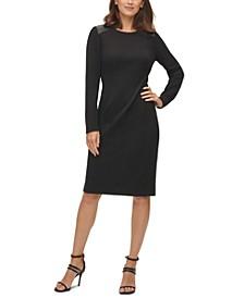 Faux-Leather Shoulder Dress
