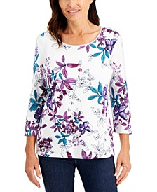 Petite Floral-Print 3/4-Sleeve Top, Created for Macy's