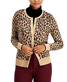 Animal-Print Button-Up Cardigan, Created for Macy's