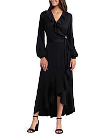 Women's Wrap Ruffle Hem Dress