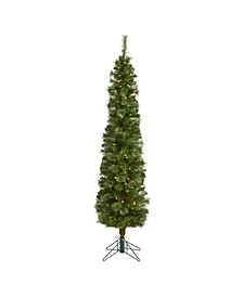 Pencil Artificial Christmas Tree with 150 Clear Multifunction LED Lights and 264 Bendable Branches