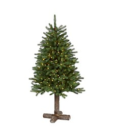 Napa Valley Pine Artificial Christmas Tree with 200 Warm LED Lights, 335 Bendable Branches On A Faux Wood Stand
