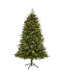"""Wellington Spruce """"Natural Look"""" Artificial Christmas Tree with 300 Clear LED Lights and Pine Cones"""
