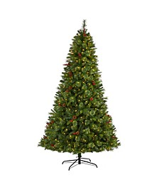 Aberdeen Spruce Artificial Christmas Tree with 500 Clear LED Lights, Pine Cones and Berries