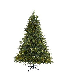 "Colorado Mountain Fir ""Natural Look"" Artificial Christmas Tree with 600 Clear LED Lights and 3048 Bendable Branches"
