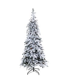 Flocked Montana Down Swept Spruce Artificial Christmas Tree with Pinecones and 400 LED Lights