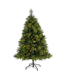 North Carolina Mixed Pine Artificial Christmas Tree with 200 Warm LED Lights, 711 Bendable Branches and Pinecones