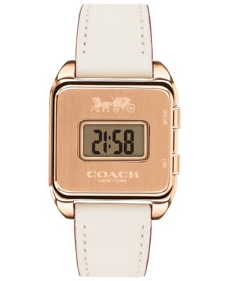 코치 여성 손목 시계 COACH Womens Darcy Digital Chalk Leather Strap Watch 37x30mm,White