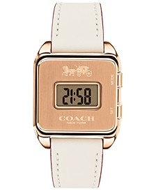Women's Darcy Digital Chalk Leather Strap Watch 37x30mm