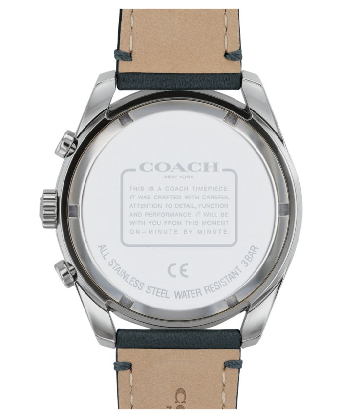COACH Men's Preston Chronograph Black Leather Strap Watch 44mm & Reviews - Macy's