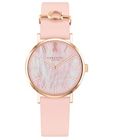 Women's Perry Breast Cancer Awareness Blush Leather Strap Watch 28mm