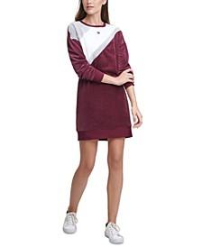 Dropped-Shoulder Colorblocked Crewneck Sweater Dress