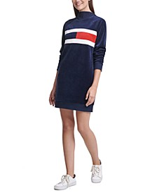 Velour Mock-Neck Logo Sweater Dress