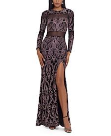 Cutout-Mesh Glitter Gown