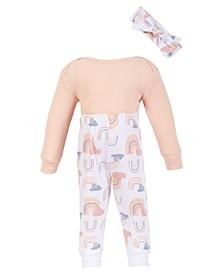 Baby Girl Thermal Pink Rainbow 3-Piece Pants Set