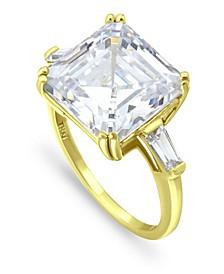 Cubic Zirconia Asscher Cut Center Stone 18K Gold Plate Ring