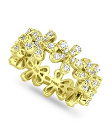 Cubic Zirconia Flower 18K Gold Plate Ring