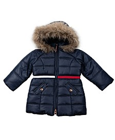 Baby Girls Longline Puffer with Sequin Patch