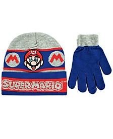 Toddler Boys Super Mario Bros 2 Piece Knit Hat and Matching Gloves Set