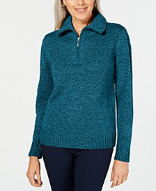 Petite Quarter-Zip Wing-Collar Sweater, Created for Macy's