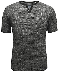 Men's Split-Neck Ribbed T-Shirt, Created for Macy's