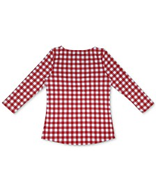 Cotton Gingham-Print Boat-Neck Top, Created for Macy's