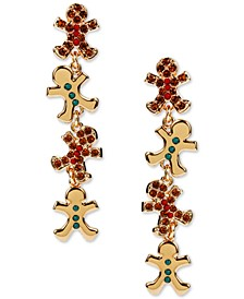 INC Gold-Tone Crystal & Bead Gingerbread Linear Drop Earrings, Created for Macy's