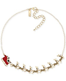"INC Gold-Tone Crystal Reindeer & Sleigh Statement Necklace, 18"" + 3"" extender, Created for Macy's"