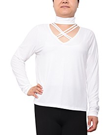 Trendy Plus Size Cutout Mockneck Top