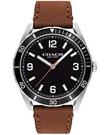 Men's Preston Saddle Leather Strap Watch 44mm