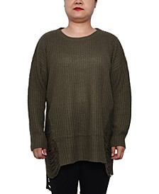 Trendy Plus Size Distressed High-Low Sweater