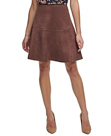 Faux-Suede Flared Skirt