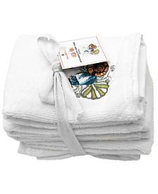 "Seashells Embroidery Terry Towel, 12"" x 12"", Set of 6"